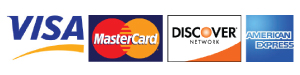 Credit card logos for Visa, Mastercard, Discover and American Express