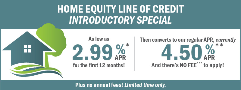 Home Equity Line of Credit Introductory Special 2.99% first 12 months