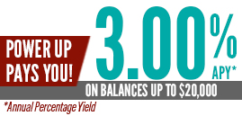 Power Up Pays You. 3% Annual Percentage Yield on balances up to 20 thousand dollars