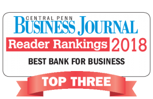 Award - Central Penn Business Journal, Reader Rankings 2018, Best Bank for Business, Top Three