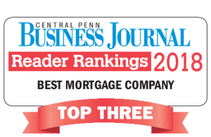 Award - Central Penn Business Journal, Reader Rankings 2018, Best Mortgage Company, Top Three