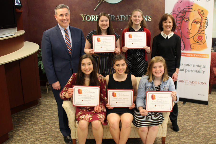 Standing (left to right): Gene Draganosky, President and CEO of Traditions Bank; Rachel Ritchey, West York High School;KaitlynArrow, Central York HighSchool; and Carolyn Schaefer, Her Traditions Founder and Champion. Seated (left to right): DelphieBacks, Central York HighSchool;LauraKruth, Christian School of York; and Sierra Stevens, Hanover High School.
