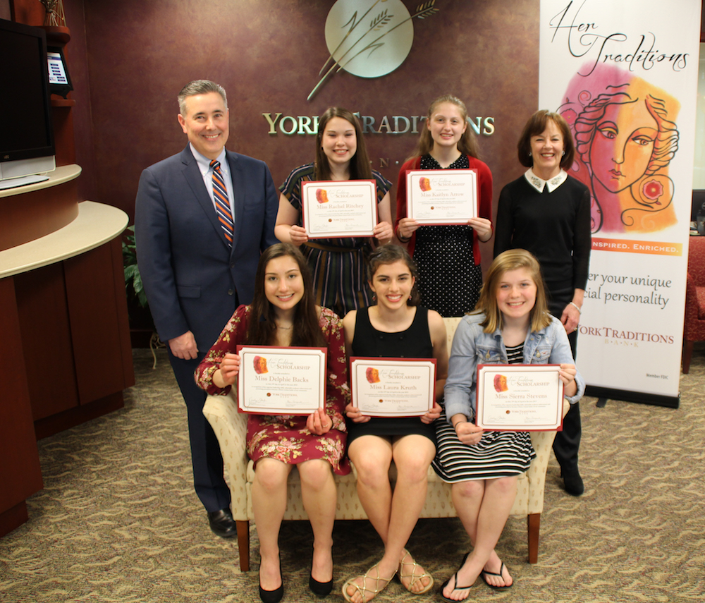 Standing (left to right): Gene Draganosky, President and CEO of Traditions Bank; Rachel Ritchey, West York High School; Kaitlyn Arrow, Central York High School; and Carolyn Schaefer, Her Traditions Founder and Champion. Seated (left to right): Delphie Backs, Central York High School; Laura Kruth, Christian School of York; and Sierra Stevens, Hanover High School.
