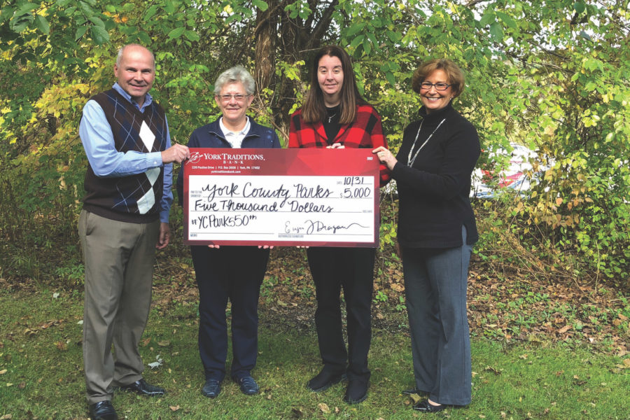 Pictured (left to right) are: Keith Sheffer, Traditions Bank Director of Loan Administration; Tammy Klunk, Director of York County Parks; Attorney Amanda Snoke-Dubbs, York County Parks Foundation Board Member; and Vickie Chronister, Traditions Bank Director of Operations.