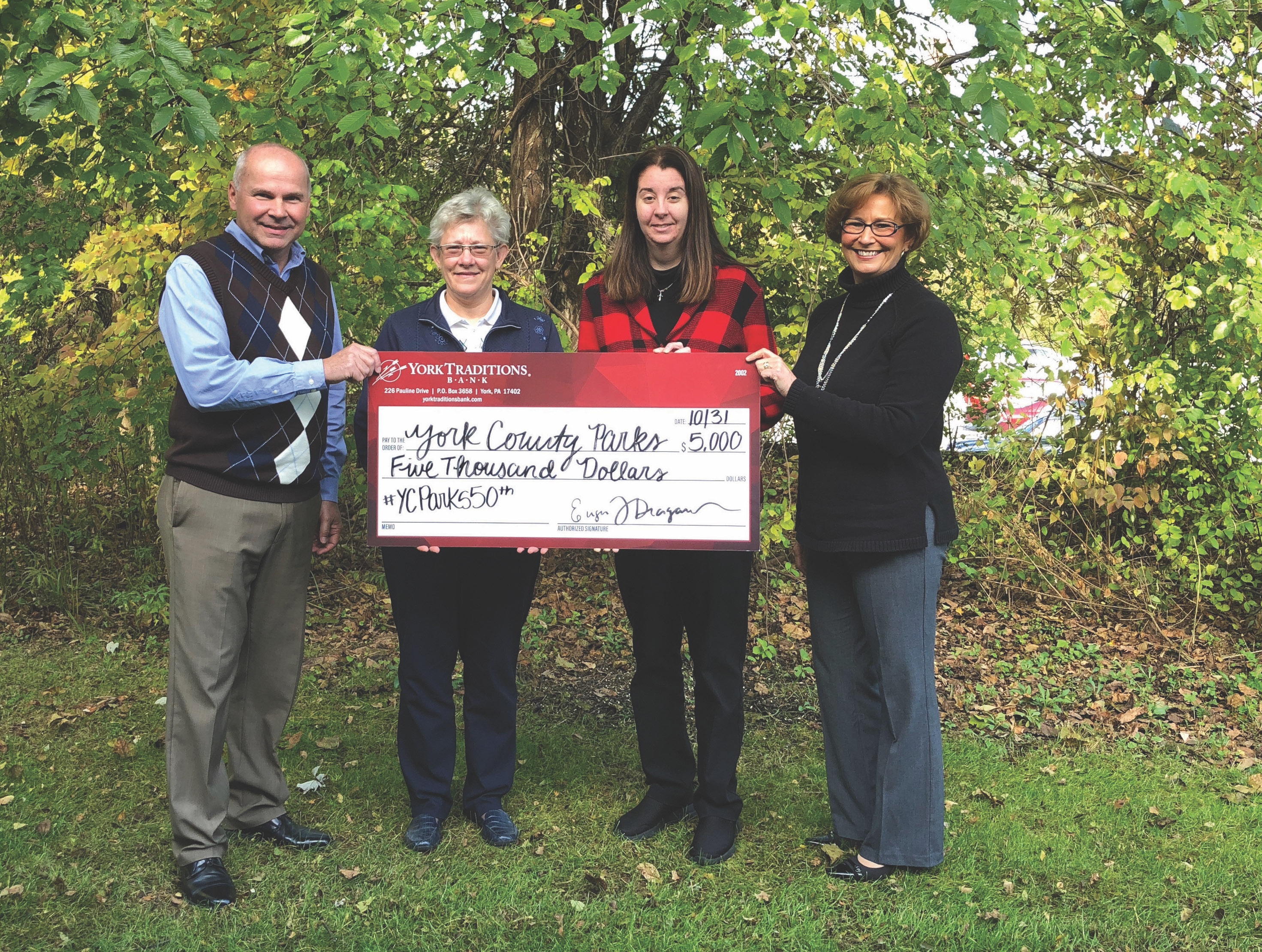 Pictured (left to right) are: Keith Sheffer, York Traditions Bank Director of Loan Administration; Tammy Klunk, Director of York County Parks; Attorney Amanda Snoke-Dubbs, York County Parks Foundation Board Member; and Vickie Chronister, York Traditions Bank Director of Operations.