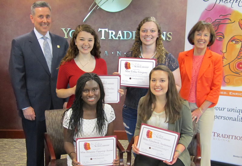 Standing (left to right): Gene Draganosky, President of Traditions Bank; Madelyn Devlin, York Catholic High School; Erika Gregory, Spring Grove Area Senior High School; Carolyn Schaefer, Managing Director – Personal Banking & Wealth Management; Seated (left to right): Brianna Oppong-Antwi, Eastern York High School; Elizabeth Anderson, Red Lion Area High School