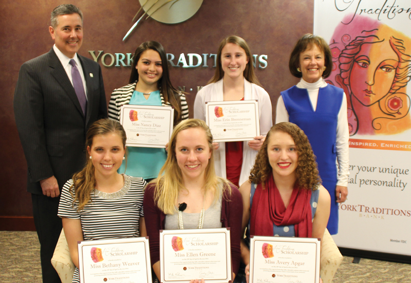 Standing (left to right): Gene Draganosky, President of Traditions Bank; Nancy Diaz, Hanover High School; Erin Brenneman, Red Land Area High School; Carolyn Schaefer, Managing Director of Specialized Banking; Seated (left to right): Bethany Weaver, West York Area High School; Ellen Greene, Spring GroveArea High School; Avery Apgar, Central YorkHigh School.