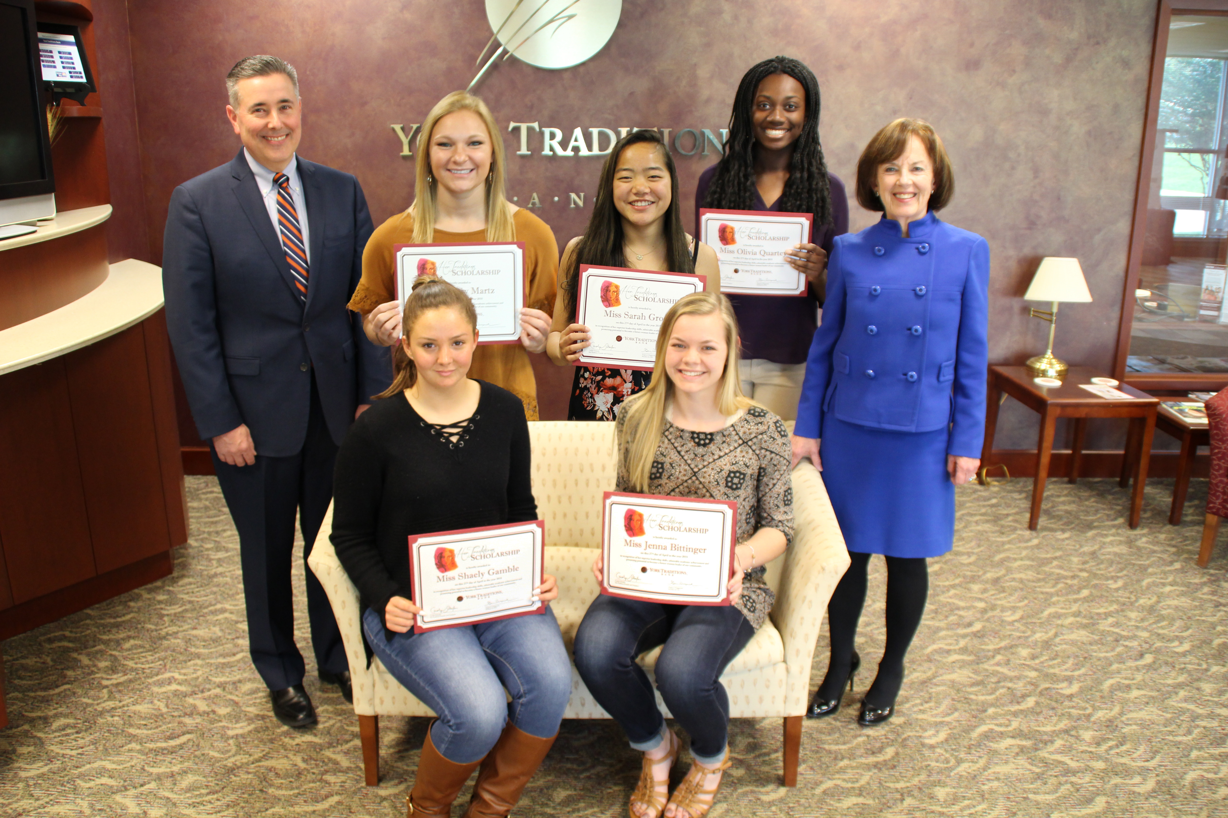 Standing (left to right): Gene Draganosky, President and CEO of York Traditions Bank; Avery Martz, Hanover High School; Sarah Groetz, Dallastown Area High School; Olivia Quartey, Central York High School; Carolyn Schaefer, Her Traditions Founder and Champion; Seated (left to right): Shaely Gamble,  Dover Area High School; Jenna Bittinger, Northern High School.