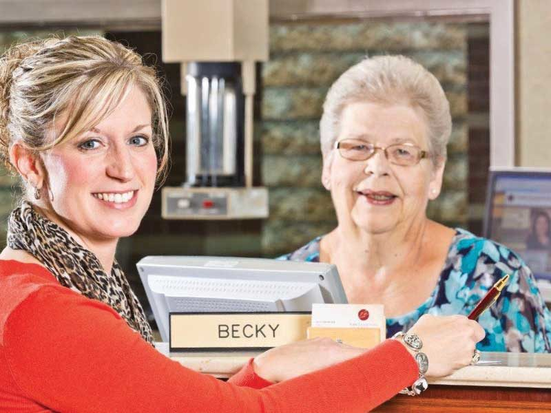 Pictured is one of our valued, long-timecustomers, Dr. Heather Lawrence of Tamarkin EyeAssociates, with Becky Amspacher, Senior ClientCare Specialist and one of our very firstAssociates who helped open York Traditions Bankon October 28, 2002!