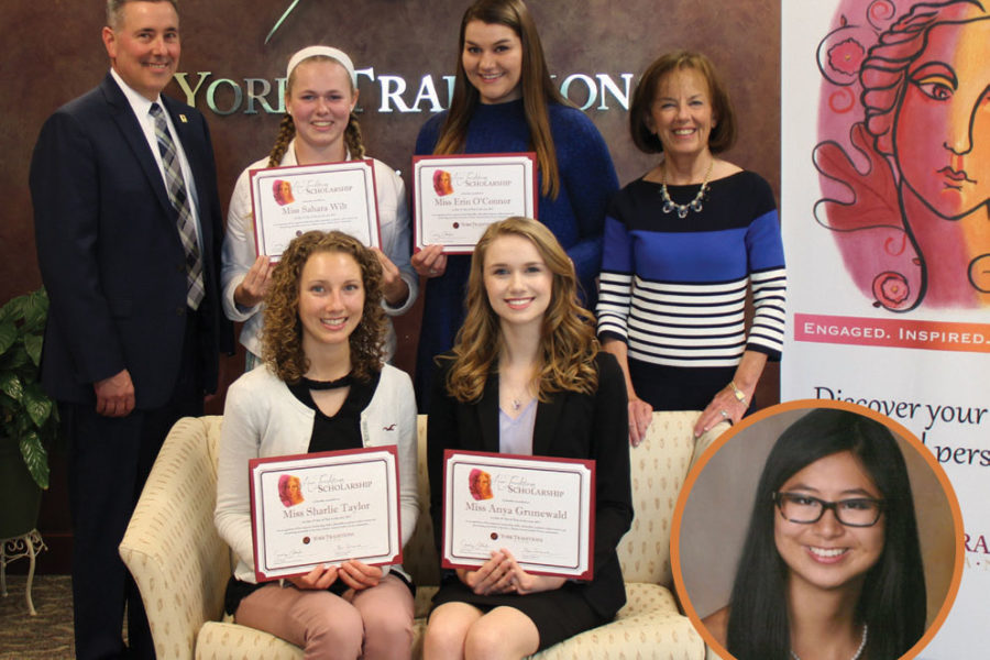 Standing (left to right): Gene Draganosky, President and CEO of Traditions Bank; Sahara Wilt, York Suburban High School; Erin O'Connor, South Western High School; Carolyn Schaefer, Managing Director of Specialized Banking; Seated; Seated (left to right): Sharlie Taylor, Red Lion Area Senior High School; Anya Grunewald, Dallastown Area High School; Inset: Erin O'Malley, West York Area High School