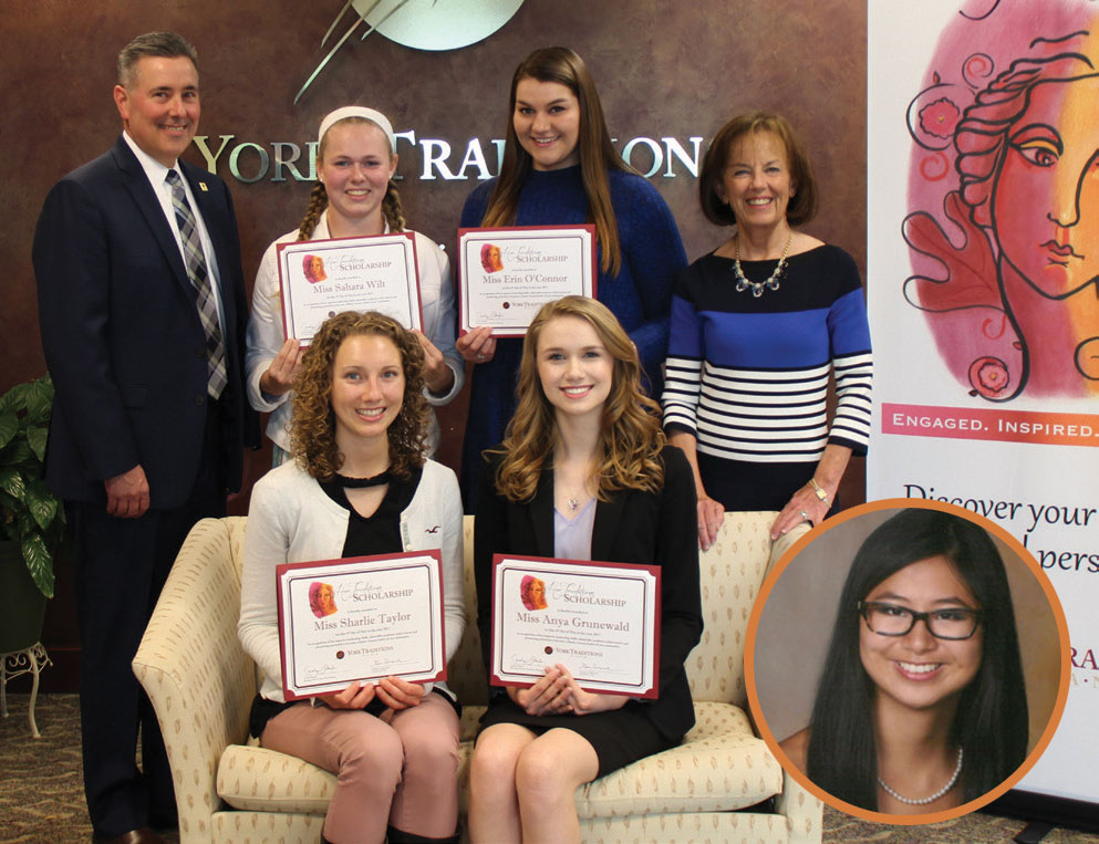 Standing (left to right): Gene Draganosky, President and CEO of York Traditions Bank; Sahara Wilt, York Suburban High School; Erin O'Connor, South Western High School; Carolyn Schaefer, Managing Director of Specialized Banking; Seated; Seated (left to right): Sharlie Taylor, Red Lion Area Senior High School; Anya Grunewald, Dallastown Area High School; Inset: Erin O'Malley, West York Area High School