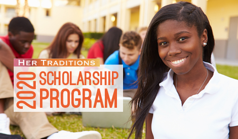 Graphic for 2020 Her Traditions Scholarship program