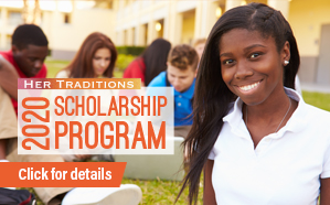 Graphic for the 2020 Her Traditions Scholarship Program