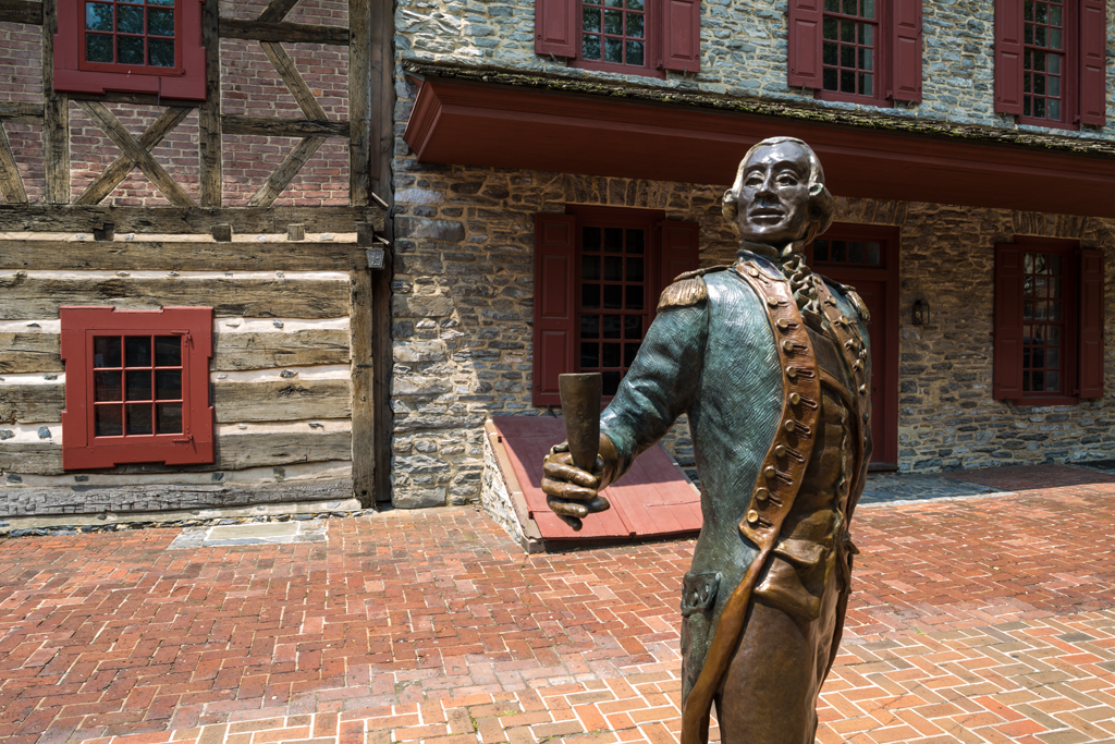 lafayette statue on brick pathway